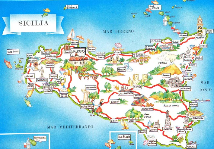 Carte touristique Sicile