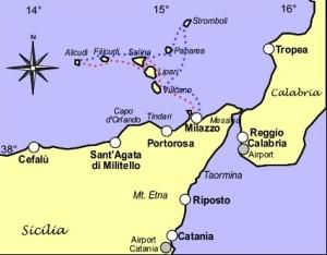 Carte de Milazzo et les îles Eoliennes.