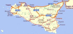 Carte routière de la Sicile