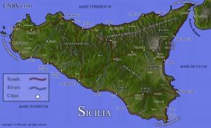 Carte physique Sicile